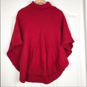 Talbots Red Wool Blend Poncho Sweater